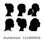 black silhouettes of beautiful... | Shutterstock .eps vector #1113849026