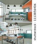 two views of modern kitchen... | Shutterstock . vector #1113856406
