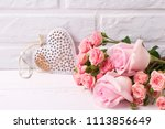 fresh pink roses flowers  and... | Shutterstock . vector #1113856649