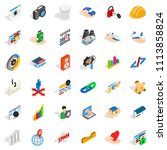 www link icons set. isometric...   Shutterstock . vector #1113858824
