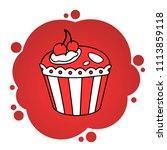 red cupcake. cartoon vector...   Shutterstock .eps vector #1113859118