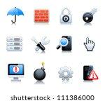 computer network icon set | Shutterstock .eps vector #111386000
