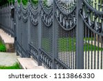 wrought iron gates  ornamental... | Shutterstock . vector #1113866330