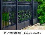 wrought iron gates  ornamental... | Shutterstock . vector #1113866369