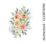 watercolor beautiful... | Shutterstock . vector #1113876050