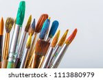 brushes  paints and accessories ... | Shutterstock . vector #1113880979