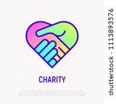 handshake in heart thin line...   Shutterstock .eps vector #1113893576