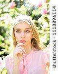 girl on dreamy face  tender... | Shutterstock . vector #1113896114
