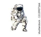 astronaut on white. mixed media | Shutterstock . vector #1113907166