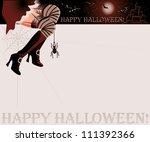 happy halloween magic card ... | Shutterstock .eps vector #111392366
