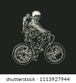 mountain bike rider in a helmet ... | Shutterstock .eps vector #1113927944