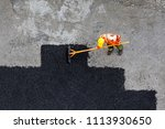 aerial view of road worker... | Shutterstock . vector #1113930650