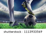 soccer player with soccerball... | Shutterstock . vector #1113933569