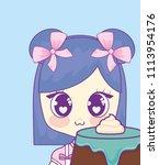 cute kawaii girl with cake... | Shutterstock .eps vector #1113954176
