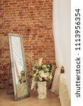 vintage elegant mirror in the... | Shutterstock . vector #1113956354
