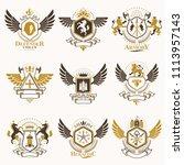 vintage heraldic coat of arms... | Shutterstock . vector #1113957143