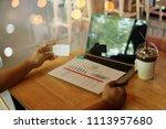 man hands using tablet  laptop... | Shutterstock . vector #1113957680