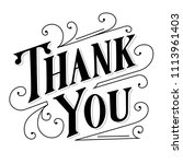 thank you hand lettering  black ... | Shutterstock .eps vector #1113961403
