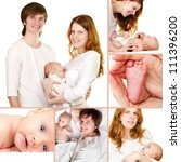 Beautiful collage parents with a newborn baby - stock photo
