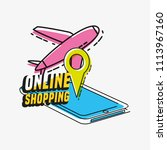 online shopping with smartphone ... | Shutterstock .eps vector #1113967160