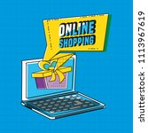 online shopping with laptop pop ... | Shutterstock .eps vector #1113967619