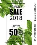 summer sale banner with...   Shutterstock . vector #1113968600