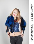 beautiful blonde girl closeup.... | Shutterstock . vector #1113988994