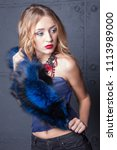 beautiful blonde girl closeup.... | Shutterstock . vector #1113989000