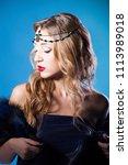 beautiful blonde girl closeup.... | Shutterstock . vector #1113989018