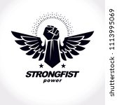 strong raised arm of athletic... | Shutterstock . vector #1113995069