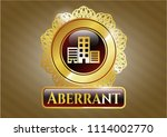 gold shiny emblem with... | Shutterstock .eps vector #1114002770