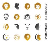 brave lion king faces emblems... | Shutterstock . vector #1114009019