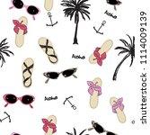 beautiful fashion vector  beach ... | Shutterstock .eps vector #1114009139