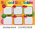 school timetable  a weekly... | Shutterstock .eps vector #1114011818