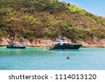 recreational boats anchoring... | Shutterstock . vector #1114013120