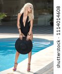 beautiful sensual blonde with... | Shutterstock . vector #1114014608