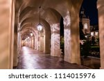 night view of the colonnade... | Shutterstock . vector #1114015976