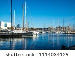port with yachts in barcelona ... | Shutterstock . vector #1114034129