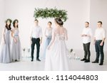 beautiful bride in a white... | Shutterstock . vector #1114044803