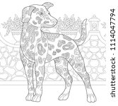 dalmatian dog. coloring page.... | Shutterstock .eps vector #1114047794