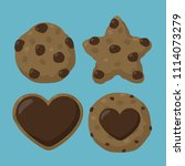 vector set icon chocolate chip... | Shutterstock .eps vector #1114073279