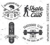set of skateboard club badges.... | Shutterstock .eps vector #1114073516