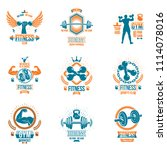 weightlifting theme logotypes... | Shutterstock . vector #1114078016