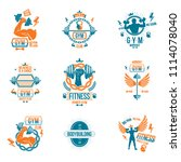 weightlifting theme logotypes... | Shutterstock . vector #1114078040