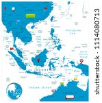 southeast asia map and glossy... | Shutterstock .eps vector #1114080713