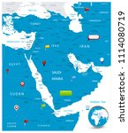 middle east map and glossy... | Shutterstock .eps vector #1114080719
