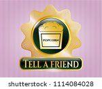 golden badge with popcorn icon ... | Shutterstock .eps vector #1114084028