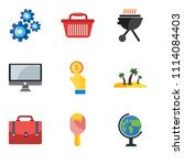 set of 9 simple editable icons... | Shutterstock .eps vector #1114084403