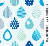 falling rain drops water... | Shutterstock . vector #1114088843