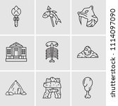 set of 9 simple editable icons... | Shutterstock .eps vector #1114097090
